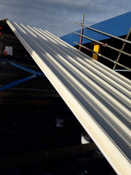 Pelagia new processing plant roof works first sheet on